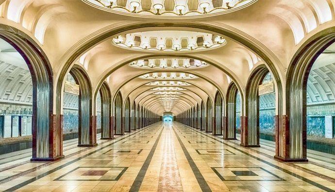 Visita guiada por el metro de Moscú. Estación de Mayakovskaya.