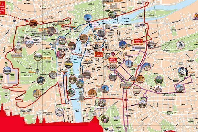 Mapa praga rutas autobús turístico
