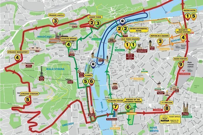 Rutas en autobús por Praga.